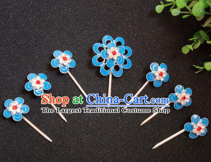Chinese Ancient Princess Blue Plum Hairpins Traditional Peking Opera Actress Hair Accessories for Women