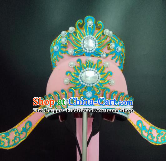 Chinese Beijing Opera Niche Pink Hat Traditional Peking Opera Crown Prince Hair Accessories for Men