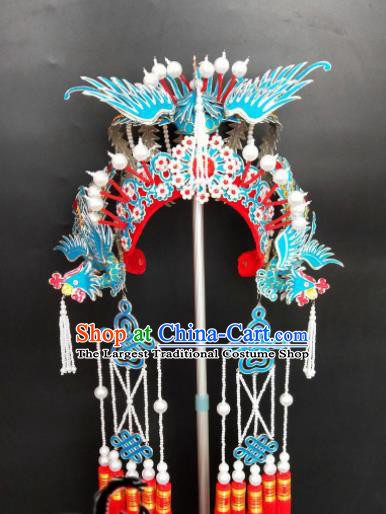 Chinese Beijing Opera Bride Red Phoenix Coronet Traditional Peking Opera Princess Hat Hair Accessories for Women