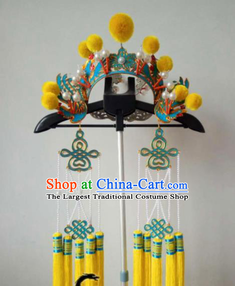 Chinese Beijing Opera Female Swordsman Hat Traditional Peking Opera Blues Helmet Hair Accessories for Women