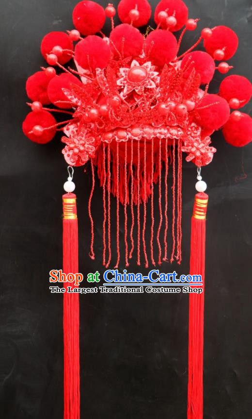 Chinese Beijing Opera Imperial Consort Red Phoenix Coronet Traditional Peking Opera Bride Hat Hair Accessories for Women