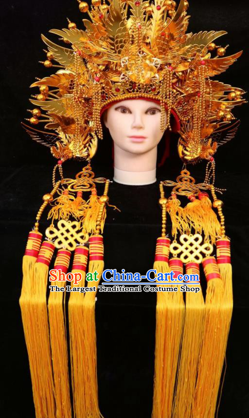 Chinese Beijing Opera Imperial Consort Golden Phoenix Coronet Traditional Peking Opera Bride Hat Hair Accessories for Women