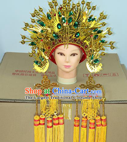 Chinese Beijing Opera Queen Green Crystal Phoenix Coronet Traditional Peking Opera Bride Hat Hair Accessories for Women