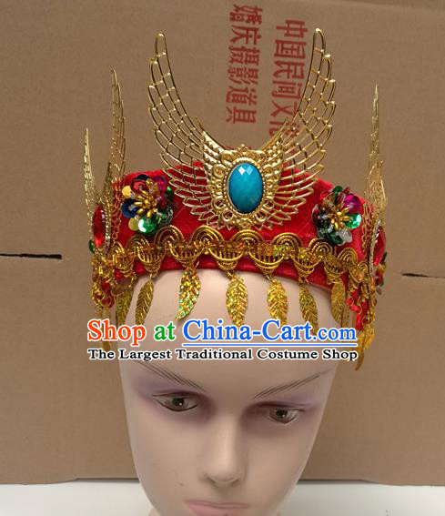 Chinese Ancient Princess Red Hat Traditional Peking Opera Actress Dance Hair Accessories for Kids