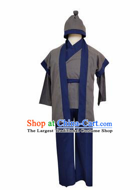 Chinese Ancient Civilian Grey Clothing Traditional Ming Dynasty Farmer Costume for Men