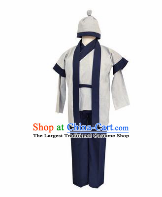 Chinese Ancient Civilian White Clothing Traditional Ming Dynasty Farmer Costume for Men