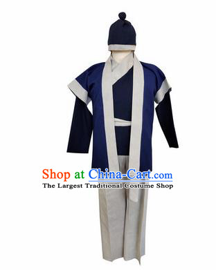 Chinese Ancient Civilian Navy Clothing Traditional Ming Dynasty Farmer Costume for Men