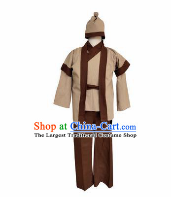 Chinese Ancient Civilian Khaki Clothing Traditional Ming Dynasty Farmer Costume for Men