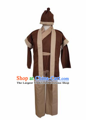 Chinese Ancient Civilian Brown Clothing Traditional Ming Dynasty Farmer Costume for Men