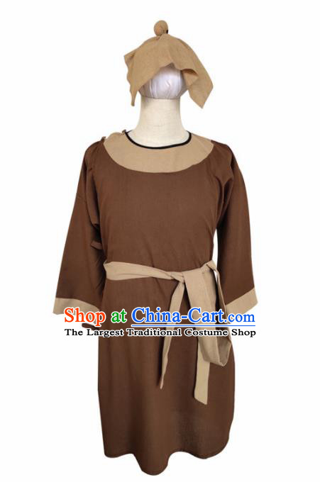 Chinese Ancient Civilian Brown Robe Traditional Ming Dynasty Teahouse Waiter Costume for Men