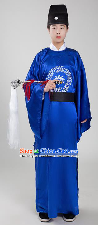 Chinese Ancient Court Eunuch Royalblue Robe Traditional Ming Dynasty Manservant Costume for Men