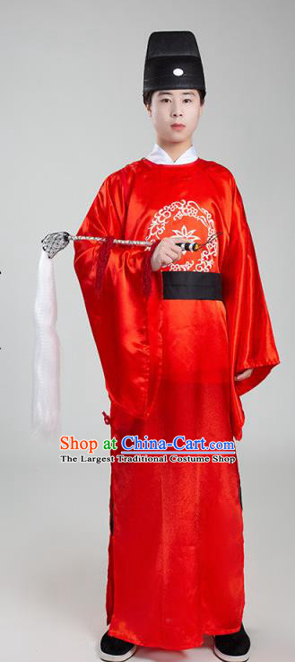 Chinese Ancient Court Eunuch Red Robe Traditional Ming Dynasty Manservant Costume for Men