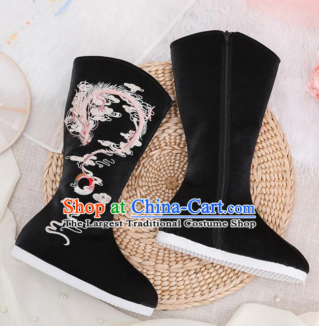 Traditional Chinese Embroidered Dragon Black Boots Handmade Cloth Shoes National Cloth Shoes for Women