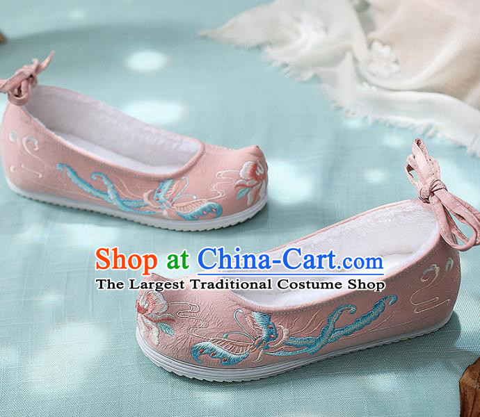 Traditional Chinese Embroidered Butterfly Pink Shoes Handmade Cloth Shoes National Cloth Shoes for Women