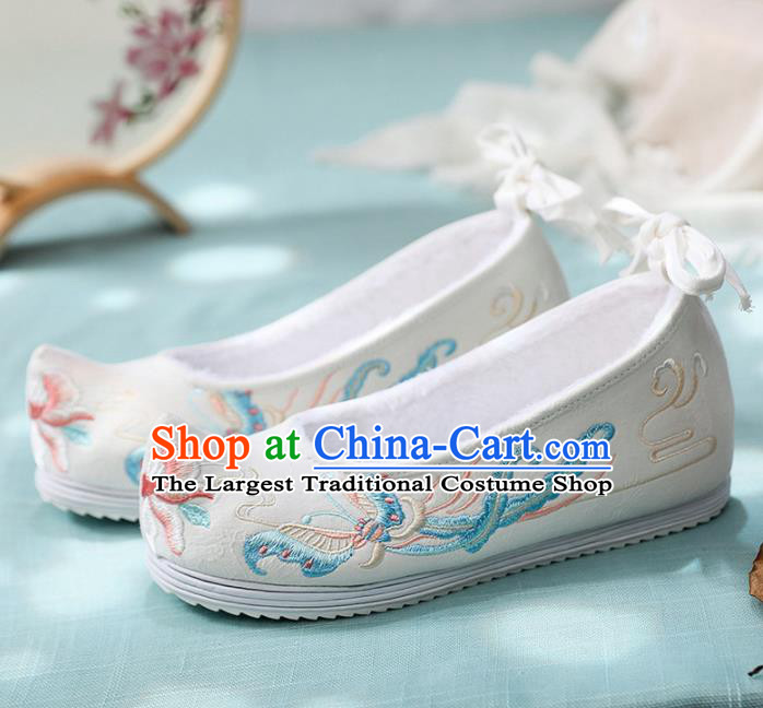 Traditional Chinese Embroidered Butterfly White Shoes Handmade Cloth Shoes National Cloth Shoes for Women
