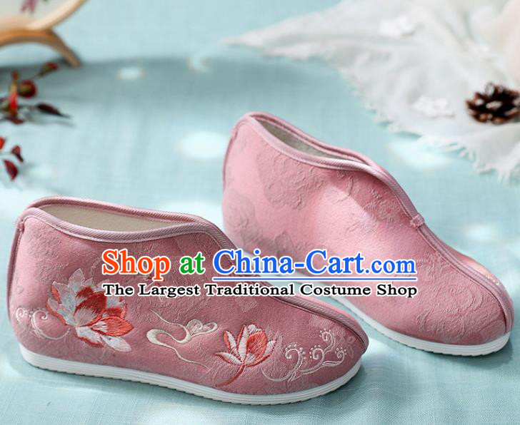Traditional Chinese Embroidered Lotus Pink Boots Handmade Cloth Shoes National Cloth Shoes for Women