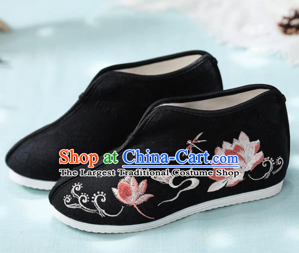 Traditional Chinese Embroidered Lotus Black Boots Handmade Cloth Shoes National Cloth Shoes for Women