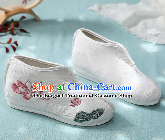 Traditional Chinese Embroidered Lotus White Boots Handmade Cloth Shoes National Cloth Shoes for Women