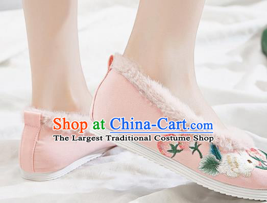 Traditional Chinese Embroidered Rabbit Pink Shoes Handmade Cloth Shoes National Cloth Shoes for Women