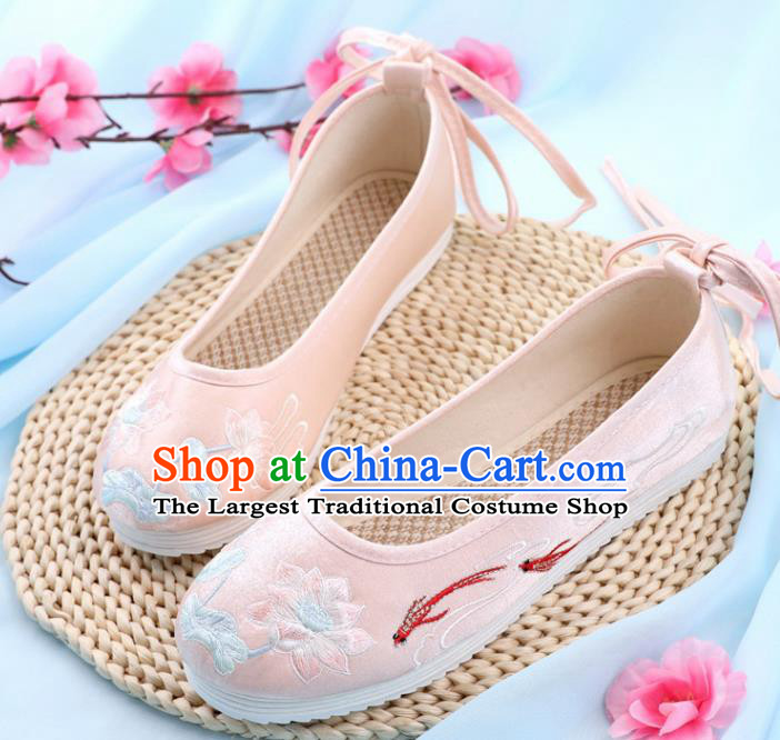 Traditional Chinese Embroidered Lotus Goldfish Pink Shoes Handmade Cloth Shoes National Cloth Shoes for Women