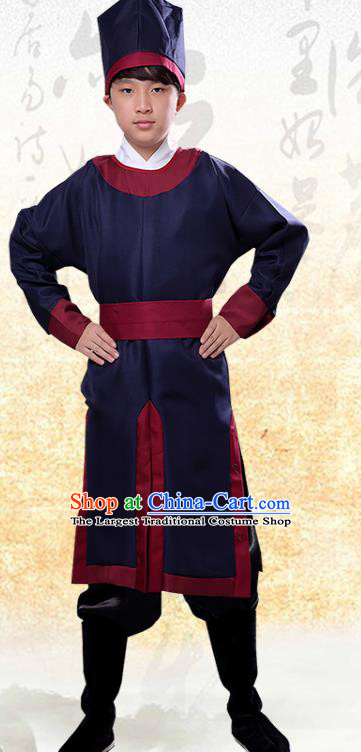 Chinese Ancient Government Manservant Navy Clothing Traditional Ming Dynasty Imperial Bodyguard Costume for Men