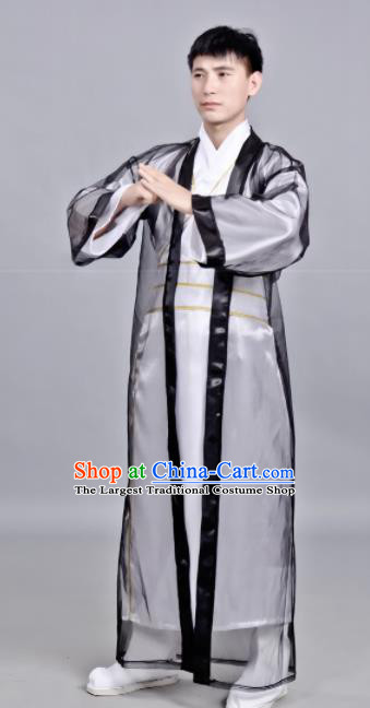 Chinese Ancient Scholar Black Robe Traditional Song Dynasty Swordsman Costume for Men