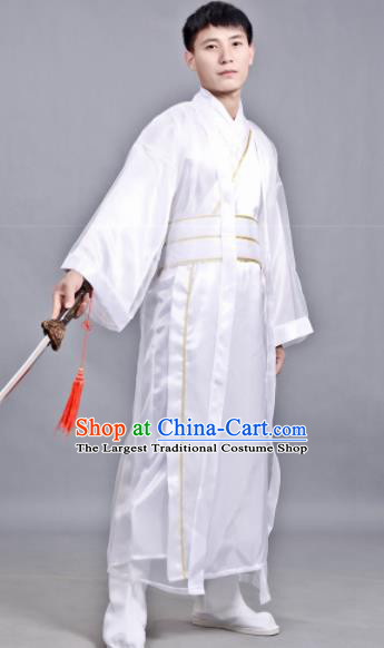 Chinese Ancient Scholar White Robe Traditional Song Dynasty Swordsman Costume for Men