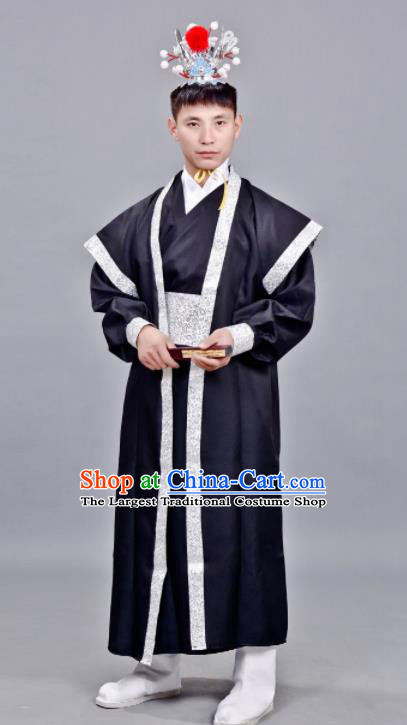 Chinese Ancient Drama Swordsman Black Clothing Traditional Song Dynasty Scholar Costume for Men