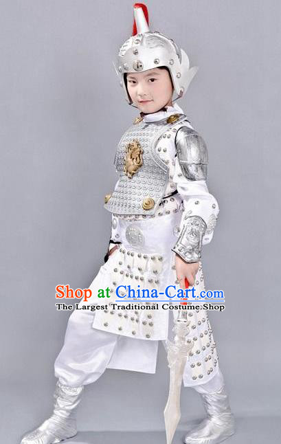 Chinese Ancient Traditional Han Dynasty General Costume White Helmet and Armour for Kids