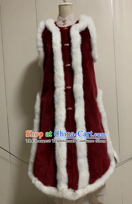Chinese Ancient Traditional Ming Dynasty Court Queen Costume Winter Wine Red Vest for Women