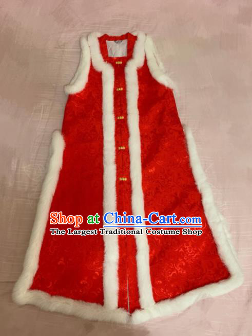 Chinese Ancient Court Winter Red Long Vest Traditional Ming Dynasty Queen Costume for Women
