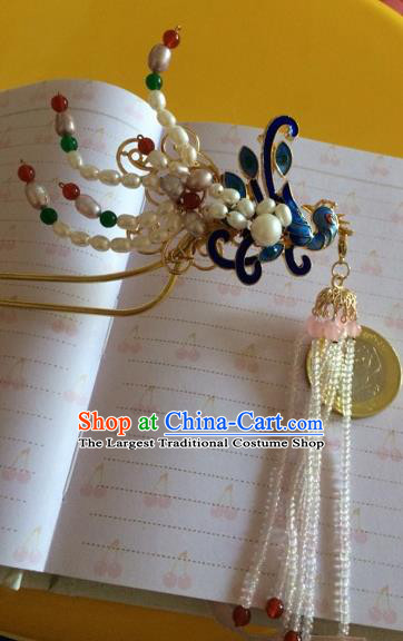 Chinese Ancient Princess Pearls Phoenix Hairpins Traditional Court Hair Accessories for Women