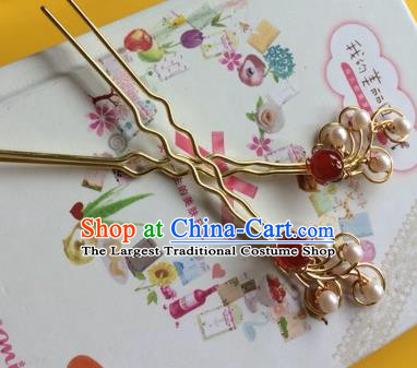 Chinese Ancient Princess Agate Pearls Hairpins Traditional Court Hair Accessories for Women