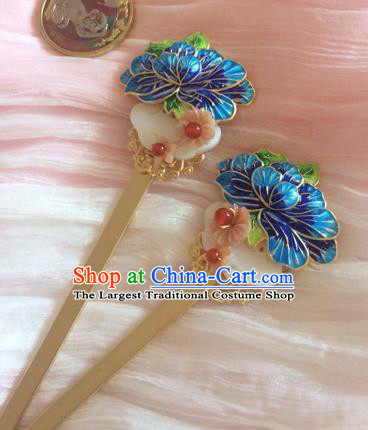 Chinese Ancient Princess Blueing Shell Hairpins Traditional Court Hair Accessories for Women