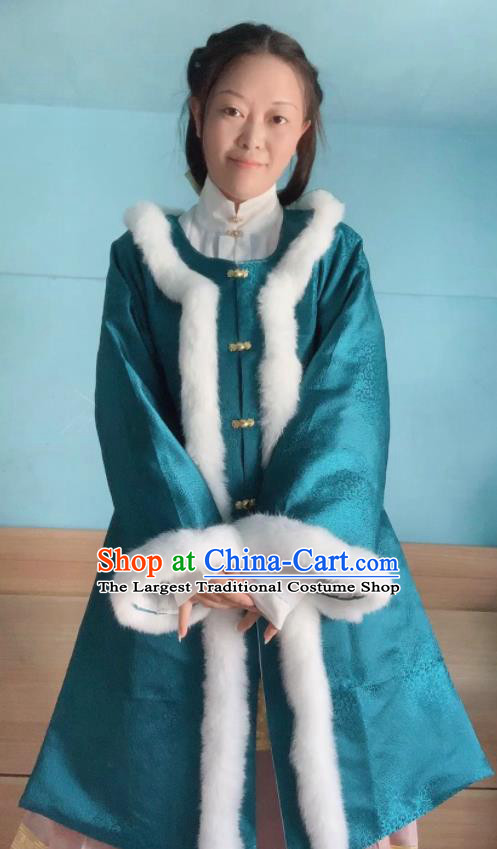 Chinese Ancient Nobility Lady Winter Blue Long Coat Traditional Ming Dynasty Princess Costume for Women