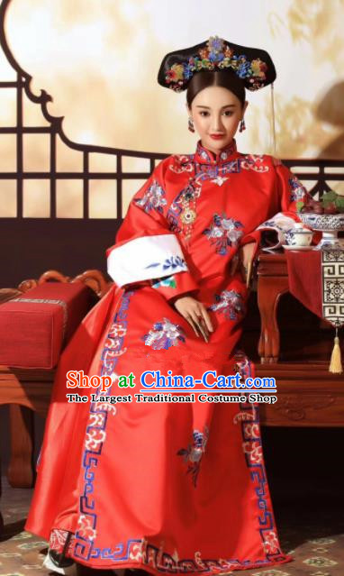 Chinese Ancient Court Empress Red Dress Traditional Qing Dynasty Manchu Queen Costumes for Women