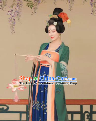 Chinese Ancient Imperial Consort Dress Traditional Tang Dynasty Royal Empress Costumes and Headpiece for Women