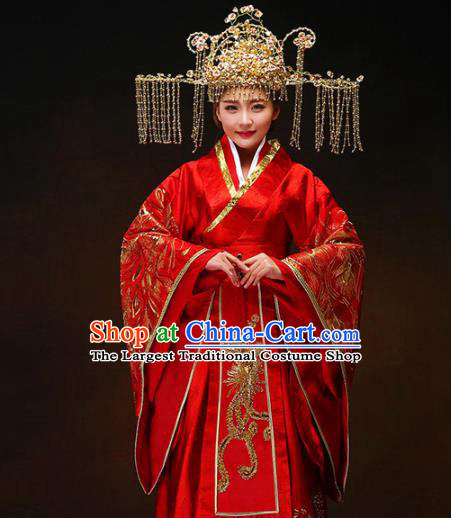 Chinese Ancient Royal Princess Wedding Red Hanfu Dress Traditional Han Dynasty Court Bride Costumes and Headpiece for Women
