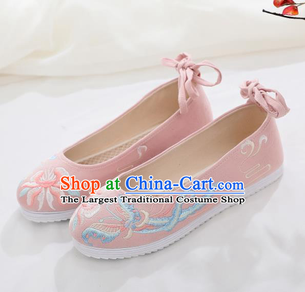 Traditional Chinese Handmade Embroidered Butterfly Pink Shoes National Cloth Shoes for Women
