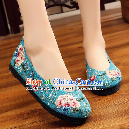 Traditional Chinese Handmade Embroidered Blue Shoes Hanfu Shoes National Cloth Shoes for Women