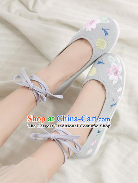 Traditional Chinese Handmade Embroidered Lotus Grey Shoes Hanfu Shoes National Cloth Shoes for Women