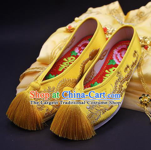 Traditional Chinese Handmade Embroidered Phoenix Yellow Shoes Hanfu Wedding Shoes National Cloth Shoes for Women