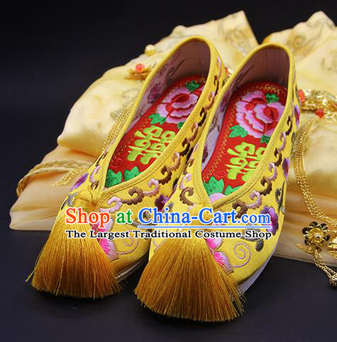 Traditional Chinese Handmade Embroidered Plum Yellow Shoes Hanfu Wedding Shoes National Cloth Shoes for Women