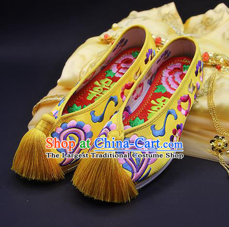 Traditional Chinese Handmade Embroidered Yellow Shoes Hanfu Wedding Shoes National Cloth Shoes for Women