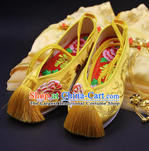 Traditional Chinese Handmade Embroidered Peony Yellow Shoes Hanfu Wedding Shoes National Cloth Shoes for Women