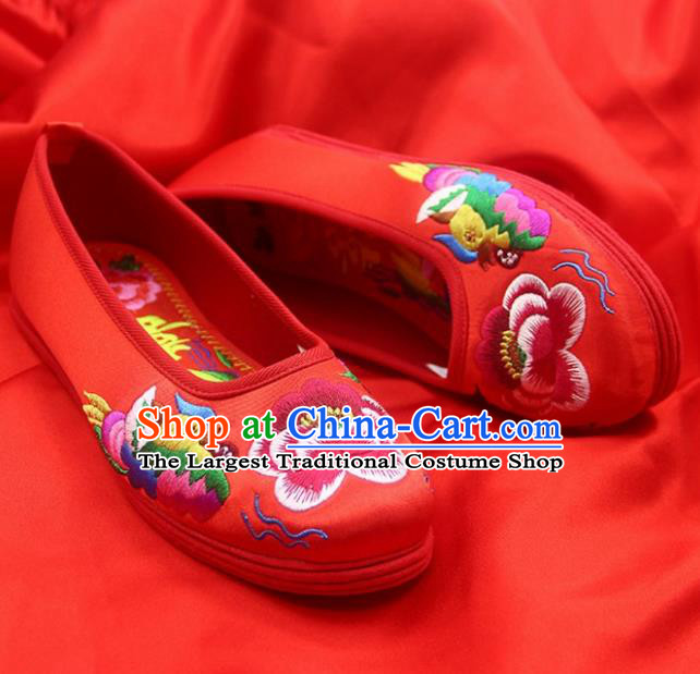 Traditional Chinese Handmade Embroidered Mandarin Duck Red Shoes Hanfu Wedding Shoes National Cloth Shoes for Women