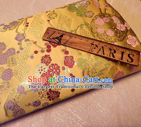 Asian Japan Traditional Plum Pattern Design Golden Brocade Damask Fabric Kimono Satin Material
