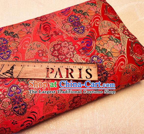 Asian Japan Traditional Pattern Design Red Brocade Damask Fabric Kimono Satin Material