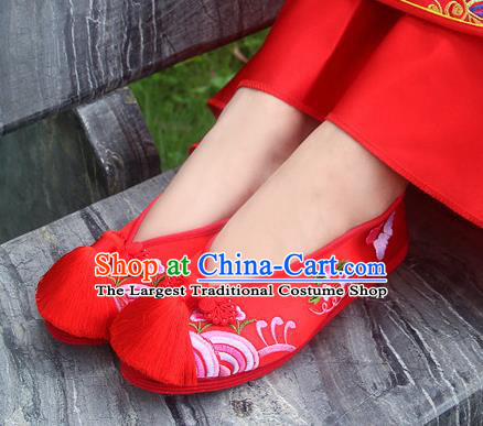 Traditional Chinese Embroidered Red Shoes Handmade Hanfu Wedding Shoes National Cloth Shoes for Women