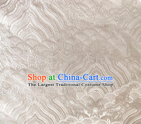 Asian Chinese Traditional Wave Pattern Design White Brocade Cheongsam Fabric Silk Material
